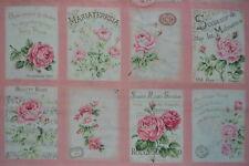 coupon de 8 vignettes de tissu patchwork shabby Mary Rose ton rose