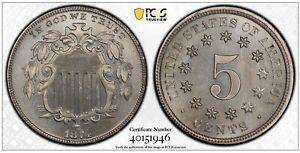 1874 Shield Nickel PCGS PROOF 67 Pop 13/2 Gold Seal TrueView Mintage 700