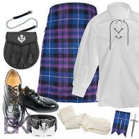 Mens Scottish 5 Yard Kilt package, Kilt, Shirt, Socks, Sporran and Chain, Shoes+