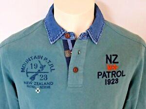 NZA New Zealand Auckland Poloshirt im Rugby-Stil Herren Langarmshirt Gr. L Neu