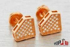 Simulated Diamond 14K Rose Gold Finish .925 Silver Screw Back Shape Earrings