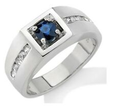925 Sterling Silver Natural Sapphire & Diamond Men's Ring Natural Gem Stone