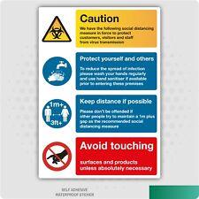 Social Distancing Measures 1m+ Sign Vinyl Sticker, Office, Virus Warning Notice