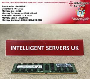 HPE 32GB (1x32GB) Dual Rank x4 DDR4-2400 CAS-17-17-17 Load Reduced Memory Kit
