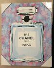 Chanel No.5 16x20x1.5in Canvas Modern Wall Pop Art, Pink, Blue, Splatter