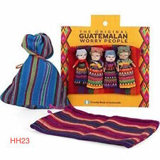 Guatemalan Worry Doll Dolls Set of 4 in Colourful Bag Gift Idea