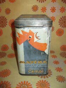 Ancienne BOÎTE METALLIQUE PUBLICITAIRE MATINA CEMOI THE Tôle Pub Métal Tea Box