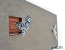 Cuckoo Clock Silver Bird.Concrete and Wood - Rectangle Wall Clock