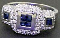Bita 14K WG 2.58CTW diamond & Blue sapphire cluster cocktail ring size 7.25
