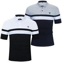 Men Eagle Polo Shirt Short Sleeve Striped Cotton Polo Shirt Casual Golf T Shirts