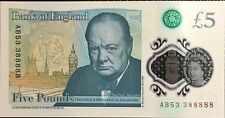 Bank of England UK NEW polymer £5 five pound note. 33 88888 Super Rare!!