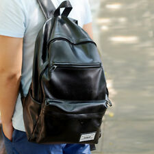 PU Leather Laptop Rucksack Travel School Bag With USB Charging Unisex Backpack