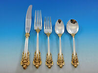 Grande Baroque Gold Accent by Wallace Sterling Silver Flatware for 12 Set 65 pc