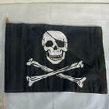 2 SKULL X BONE 11  X 18 IN FLAGS ON STICK pirate flag sculls cross bones pirates