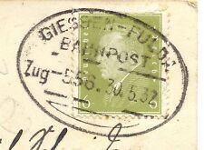 Bahnpost, Bahnpoststempel Giessen - Fulda, auf AK v. Giessen, 1932
