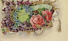 CARTE POSTALE FANTAISIE GAUFREE USA HEARTIEST CONGRATULATIONS ROSES FLOWER
