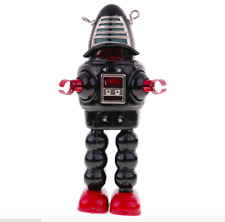 BLACK ROBBIE ROBOT TIN TOY WINDUP ROBBY SPARKS HELMET PLANET ROBOT