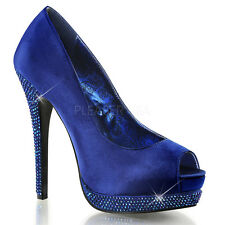 Bella 12R Satin Rhinestone Platform Open Toe High Heel Shoe Prom Royal Blue