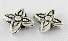 40 x Antique Silver Ornate Flower Cross Spacer Beads - SP23