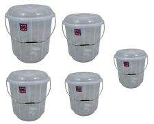 Clear Plastic Bucket Bin with Lid and Handle