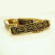 Vintage DAMASCENE Bracelet Large Rectangle Fish Links Nice Detail Black Gold