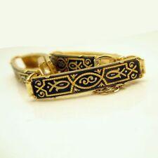 Vintage DAMASCENE Bracelet Large Rectangle Fish Links Nice Detail Black Gold