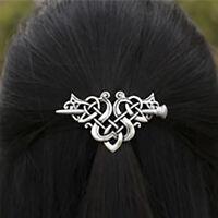 Popular Women Girls Antique Silver Metal Stick Slide Hair Clip Knots Hairpin