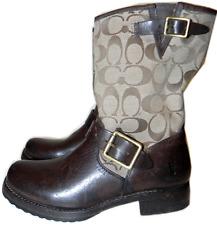 Coach Frye Monogram Khaki Veronica Western Cowboy Boot Brown Biker Booties  6.5