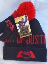 Batman VS Superman Boys 2 Piece Beanie Hat & Gloves Set Pom Pom Dawn of Justice