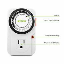 24 Hour Plug In Mechanical Outlet Timer 3 Prong AC 1875W 1/2 Hp UL Listed