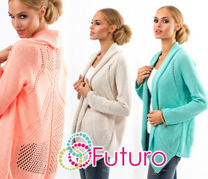 Ladies Elegant Knitted Cardigan Long Sleeve Jacket Sweater Coat Size 8-12 FAS19