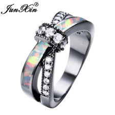 Infinity Bow Knot Rainbow Fire Opal Cross Wedding Ring Black Gold Jewelry Size 6