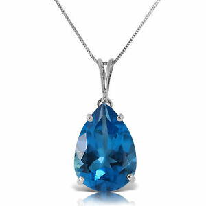 Genuine Blue Topaz 6.5 ct Gemstone Solitaire Pendant Necklace in 14K. Solid Gold