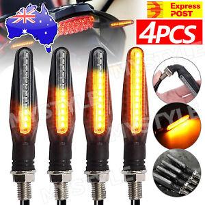 4X Motorcycle Indicators LED Turn Signal Flowing Water Light Amber Blinker Lamp