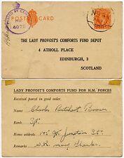GB WW2 Postal Stationery 2d Stampato LADY Prevosto Comforts fondo STO 1944 FPO