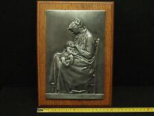 """PLAQUE en ETAIN (PEWTER Model) ALEXANDRE CHARPENTIER """" LA MATERNITE """" 237mm ART"""