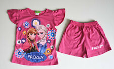 New Kids Girls Disney Frozen Elsa Anna Pink Summer Pajama Pyjama T-shirt Shorts