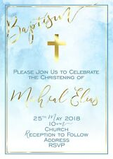 Christening Baptism Watercolour Gold Digital Invitation - Print At Home