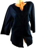 Fashion bug black v-neck plus size  embroidered 3/4 sleeve front slit top 18/20
