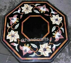 21 Inches Marble Center Table Beautiful Flowers Art Inlaid Coffee Table for Home