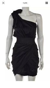 Foley + Corinna 100% Silk Black Mini Short One-shoulder Cocktail Dress  XS