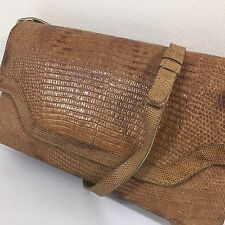 Vtg Brown Genuine LIZARD SKIN Clutch REPTILE Leather Hand Bag EVENING Purse