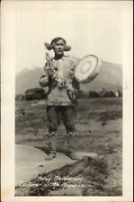 Eskimo Man w/ Drum Patsy Henderson Lecturer of the Klondike c1915 RPPC myn