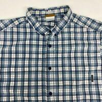 Columbia Button Up Shirt Men's XL Short Sleeve Blue White Regular Fit Cotton
