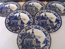 Vintage 1930's Staffordshire Burleigh Pagoda  6 x 17cm Tea Plates
