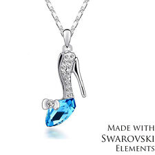 Made with Swarovski Elements Blue Crystal High Heel Shoe Pendant  Necklace New