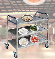 3 Tier Clearing Trolley With Wheels Large Kitchen Food Serving Hotel Shelf Cart