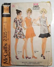 Mc-2315 Vintage 1970's Two-Piece Dress Sewing Pattern McCall's Size 16 Bust 38