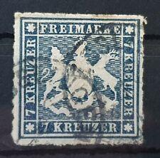 WURTTEMBERG GERMANY 1868 Used 7 Kr Dark Blue Michel #35 CV €160