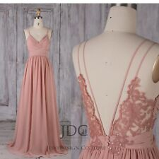 Maxi Dress Blush Chiffon Brautkleid Abendkleid Partykleid Rückenfrei Bridesmaid
